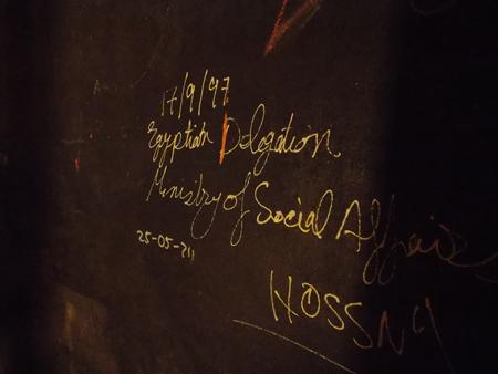 Wandinschrift der ägyptischen Delegation im Deutschen Bergbau-Museum in Bochum