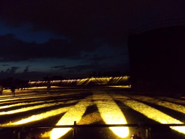 Installation Pulse Park von Rafael Lozano-Hemmer im Westpark an der Jahrhunderthalle in Bochum.