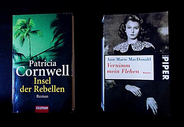'Insel der Rebellen' von Patricia Cornwell und 'Vernimm mein Flehen' von Ann-Marie MacDonald
